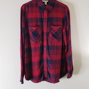 Forever 21 Red Plaid Button Up Top